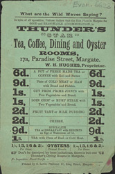 Advert for Thunder's Star tea, coffee, dining and oyster rooms